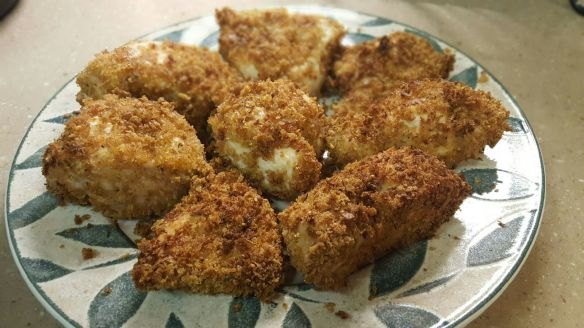 Air-fried, panko-coated chicken breasts.