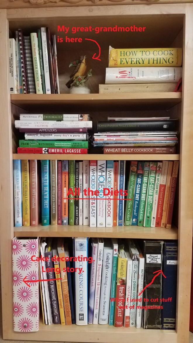 Bookshelf filled with different diet cookbooks